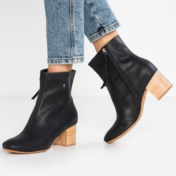 19b5c7bf3c2 TOMS Evie Bootie in Black Leather